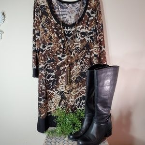 Comfortable casual animal print dress for Fall szL
